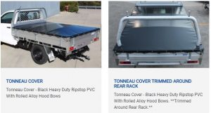 Tonneau-cover-heavy duty-trimmed around rear rack